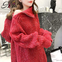 H.SA 2019 Spring New Women Knitted Oversize Pullover and Sweaters Turtleneck Zip Jumpers Off Shouder Sexy Sweater Coat Long Top