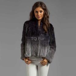 Real Genuine Rabbit Fur Gradient Knit Coat Thick Jacket Overcoat Qulity A