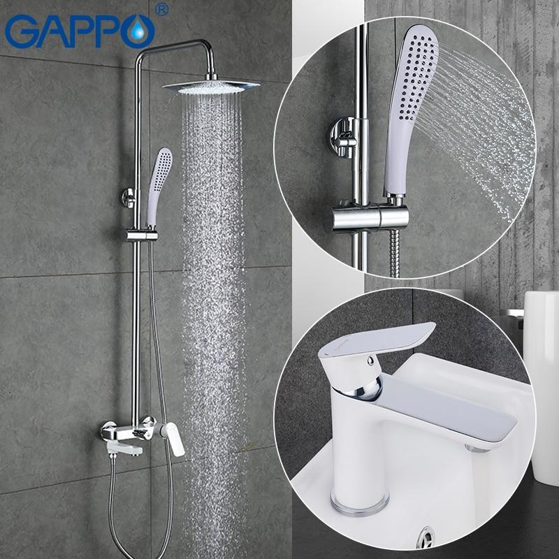 GAPPO branco Bacia Torneiras mixer bacia sink torneiras misturadoras torneira da banheira de água banheira misturador do chuveiro do banheiro conjunto