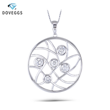 DovEggs Sterling Solid 925 Silver Necklace Moissanite Pendant with Accents  Chain for women