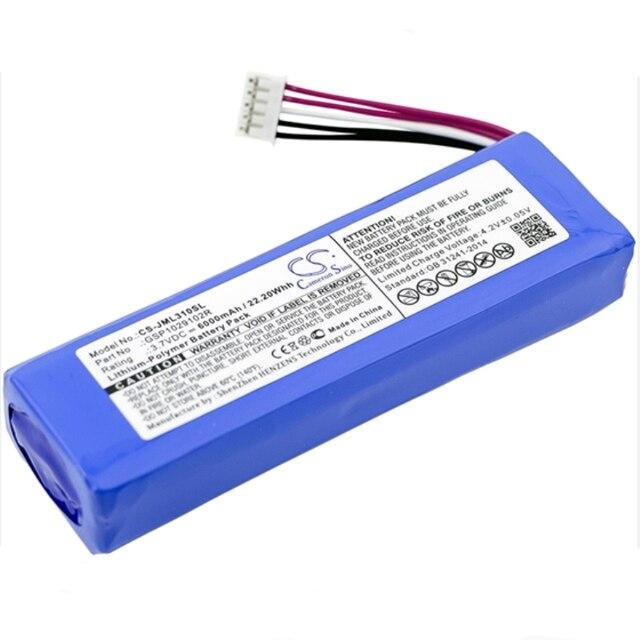 Аккумулятор Cameron Sino 6000 мАч GSP1029102R для JBL Charge 2 Plus, Charge 2 +, Charge 3
