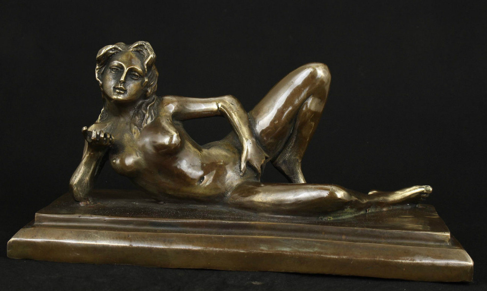 sexly ASIAN BRONZE COLLECTABLE HANDWORK CARVED BELLE STATUE FIGURE ORNAMENT