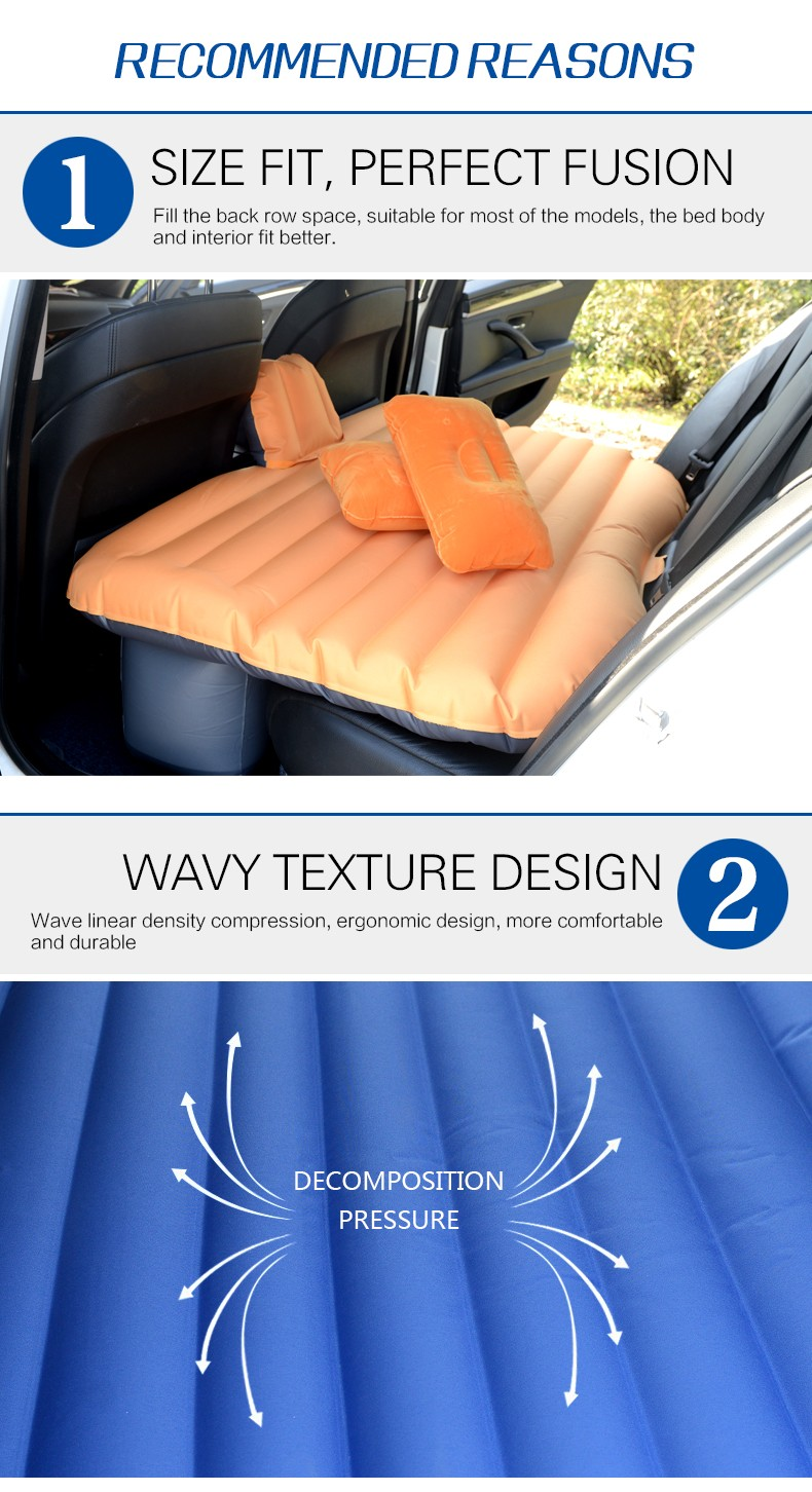 New Inflatable Car Bed Oxford Fabric And Flocking Cloth Inflatable Car Bed For Back Seat Cover Air Mmattress Universal Car Beds