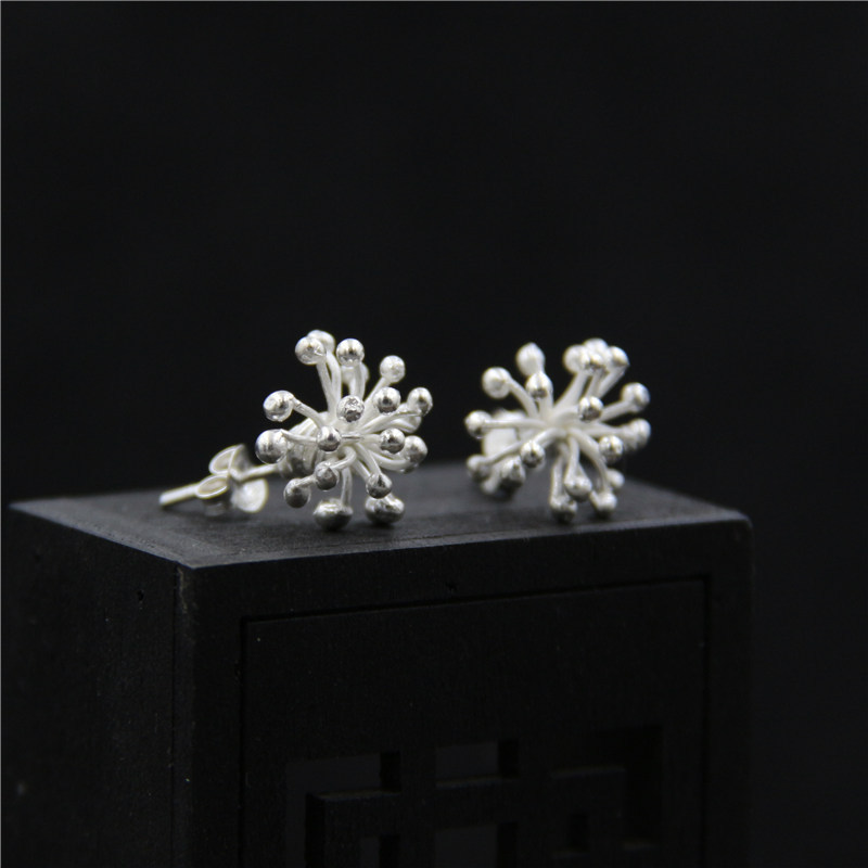 C&R Real S925 Stud Earrings for Women Dandelion Molding Thai Silver Earrings Handmade Retro Fine Jewelry