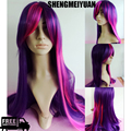SHENGMEIYUAN 80cm Long Straight Mixed Purple / Pink My Little Pony Twilight Sparkle Cosplay Wig for costume party Free ship