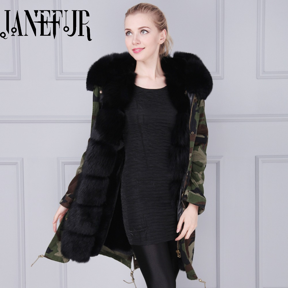 France Beading design large fox fur collar hood parka faux lined, inside long jacket Mr Mrs furs