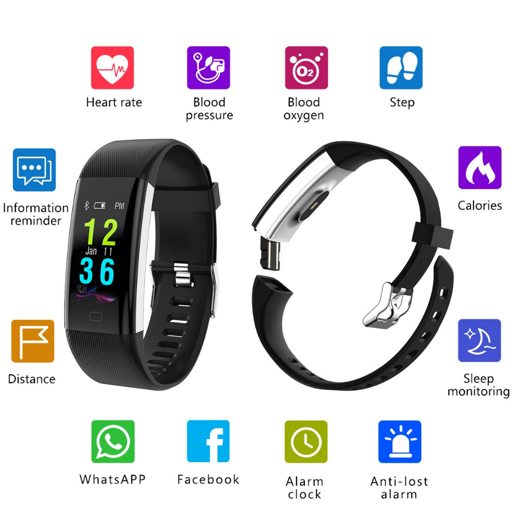 K6 Plus Color Screen Smart Wristband Sports Bracelet Heart Rate Blood Pressure Oxygen Fitness Tracker for iPhone X 8 Plus 7 Plus plus heart