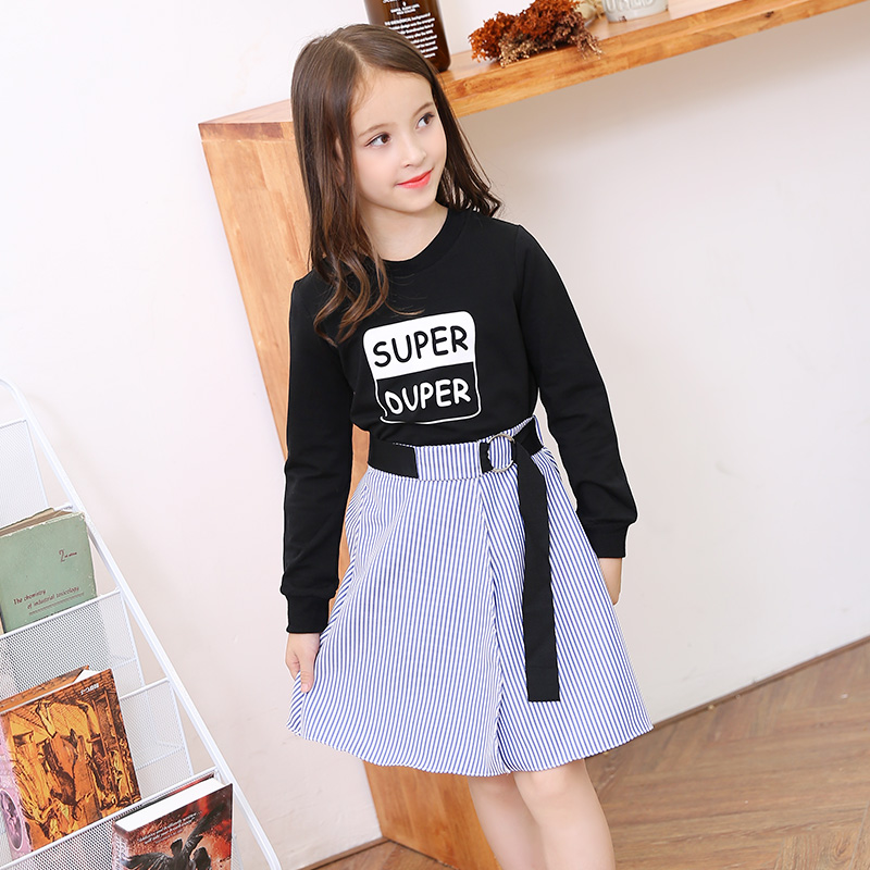 Long Sleeve Girls Clothing Set Two-piece Black Tops Striped Skirt Teenage Girls School Clothing 6 8 10 12 14 years Girls Outfit недорого