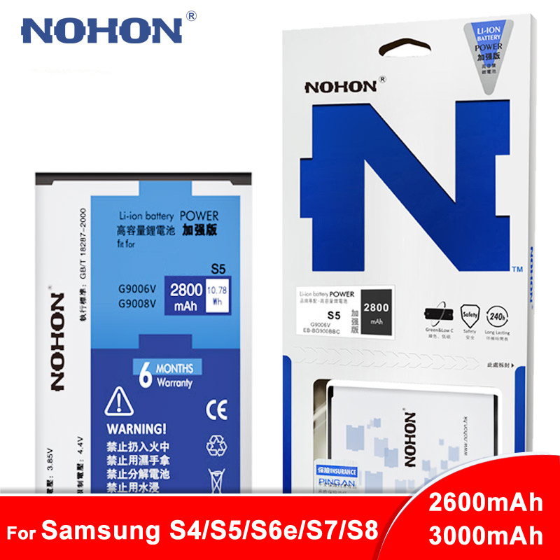 NOHON Battery For <font><b>Samsung</b></font> Galaxy S4 I9500 <font><b>S5</b></font> G900 G9009D S6 Edge G925F S7 G930F S8 SM-G9508 Replacement Lithium Polymer <font><b>Bateria</b></font> image