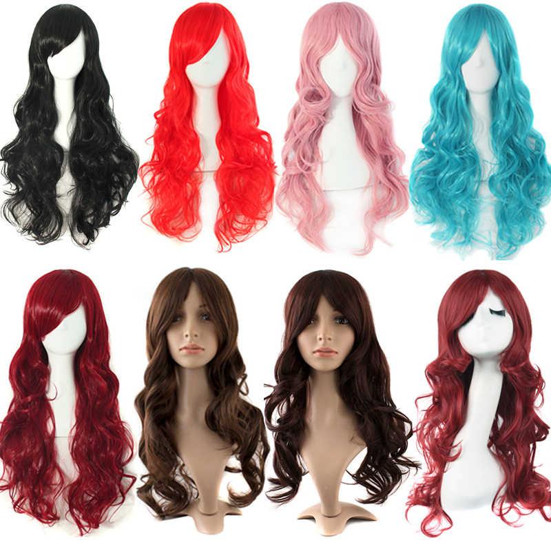 """MapofBeauty 24 """"длинные волнистые цвета: золотистый, синий чёрный; коричневый 13 видов цветов парики для Для женщин термостойкие Костюмированная вечеринка косплей парик из синтетических волос"""