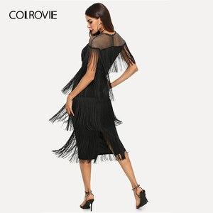 Image 2 - COLROVIE czarne kabaretki Mesh jarzmo warstwowe frędzle Bodycon Sexy sukienka kobiety 2019 lato Slim Fit ołówek biurowa, damska długie sukienki