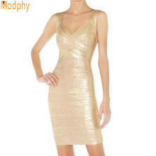 celebrity spaghetti strap bandage dresses gold sexy  prom party wear ladies halter hollow out v neck HL elastic E HL1157