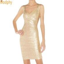 Gold Celebrity Strap Dress