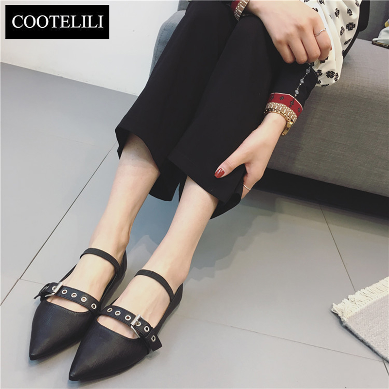 COOTELILI 35-39 Spring Casual Flats Solid Women Shoes Pointed Toe Leisure Buckle Strap Mary Janes Shallow black Ladies Shoes spring autumn solid metal decoration flats shoes fashion women flock pointed toe buckle strap ballet flats size 35 40 k257