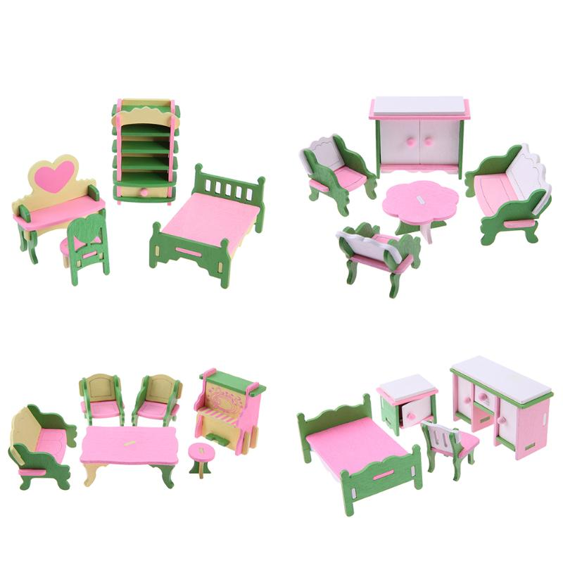 Mini Wooden Furniture Toys Set Baby DIY Dollshouse Sets Simulation Kids Educational Pretend Play Furniture Toys Doll Accessories