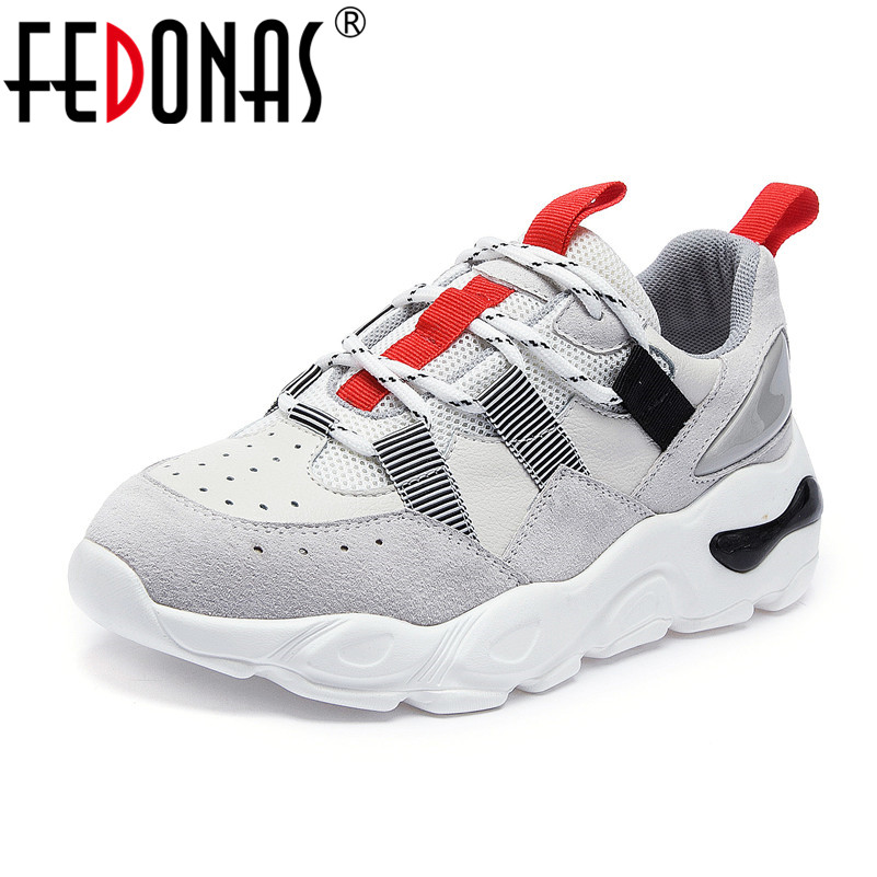 FEDONAS Fashion Women Sneakers Quality Cow Leather Breathable Mesh High Heels Spring Summer Shoes Woman Concise