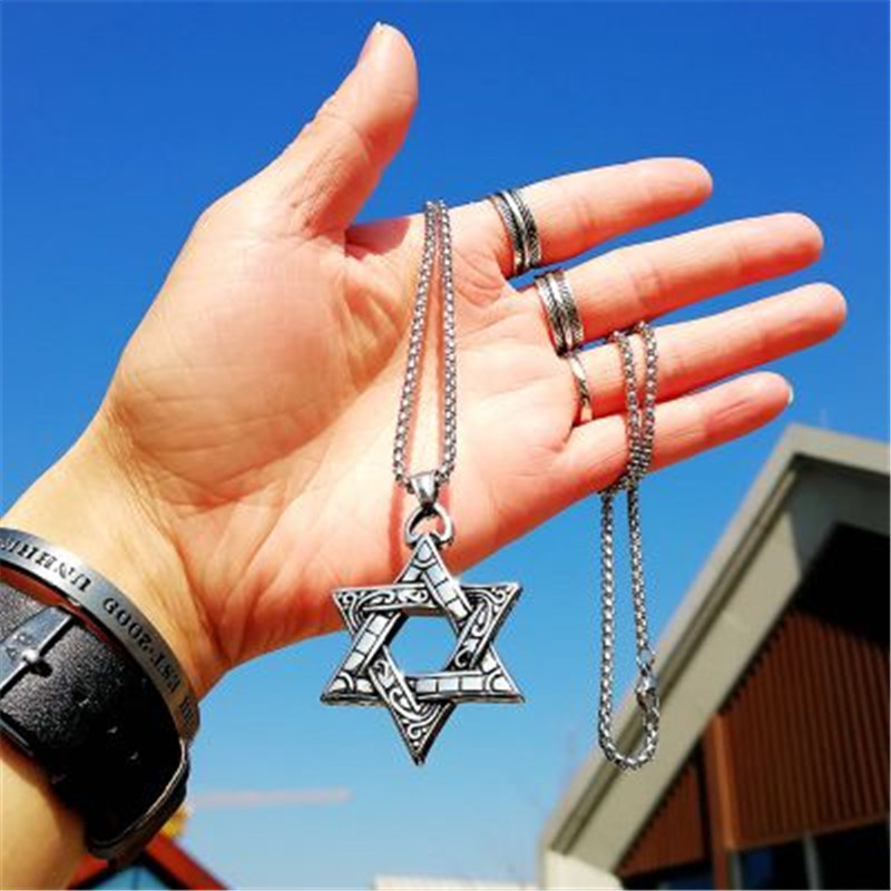 2018 Classic Hexagram Pendants Necklaces For Men Religious Fashion Harajuku Stainless Steel Star of David Necklace Charm Jewelry