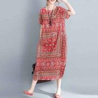 2018 ZANZEA Summer Women O Neck Short Sleeve Boho Floral Print Cotton Linen Midi Dress Loose