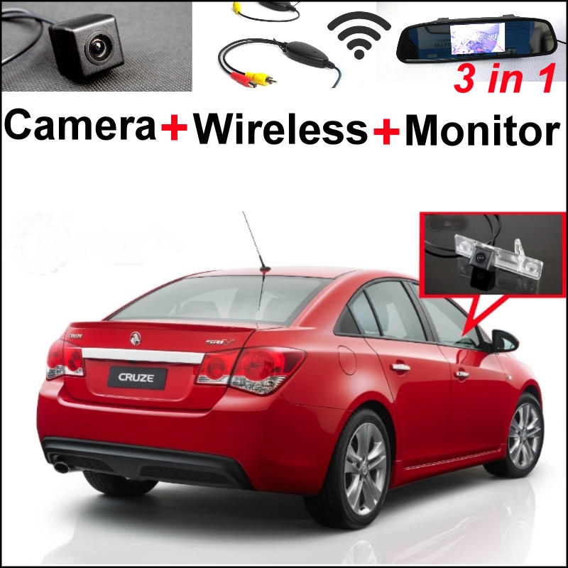 3in1 Special WiFi  Camera + Wireless Receiver + Mirror Monitor EASY DIY Parking System For Chevy Chevrolet Cruze Holden Cruze new restaurant equipment wireless buzzer calling system 25pcs table bell with 4 waiter pager receiver