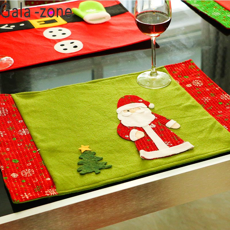 Event & Party Gala-zone 1pc Christmas Table Mat Cute Santa Snowman Reindeer Placemats With Knife Fork Bag Table Mat Dinning Table Decoration Pure And Mild Flavor