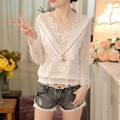 New Women Casual Basic Autumn Winter Lace Chiffon Blouse Top Shirt Hollow out blusas patchwork V-neck Full Sleeve Plus Size
