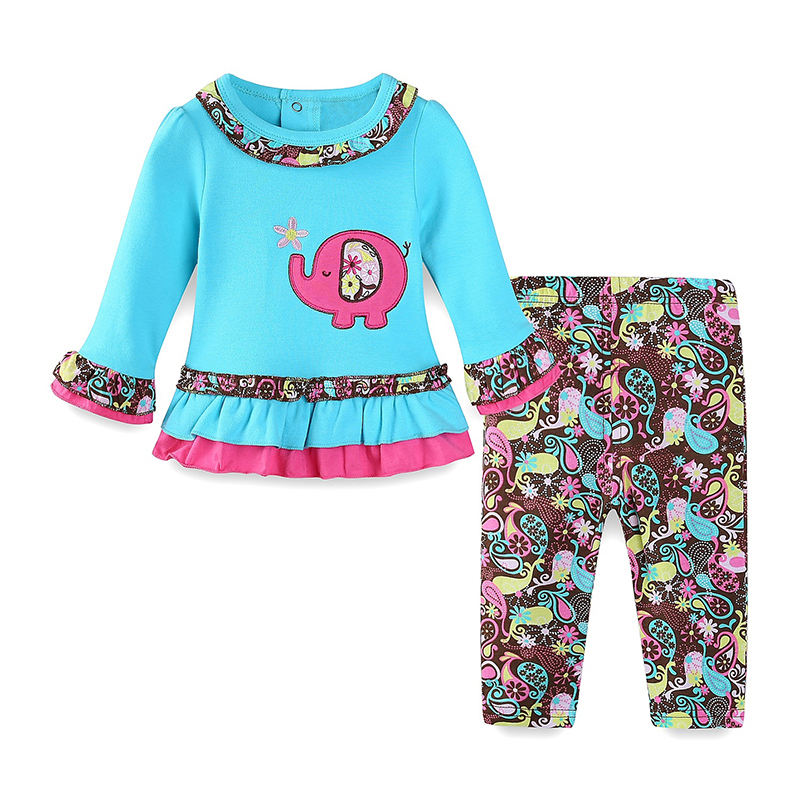 Mudkingdom Toddler Baby Girls Clothing Sets Elephant Shirt with Ruffles and floral pants Spring Autumn Animal Print