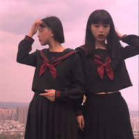 UPHYD Black Sailor Costume Teen Girls School Uniforms Long Sleeve Shirt+Tie+Skirt Schoolgirl Sailor Suits
