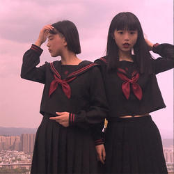 UPHYD черный матросский костюм для девочек-подростков школьная Униформа с длинным рукавом рубашка + галстук + юбка школьницы костюмы моряка