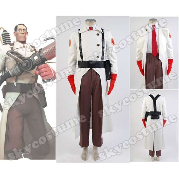 Team Fortress II 2 Medic Suit Outfit Uniform Cosplay Costume Full Set US S-XXXL