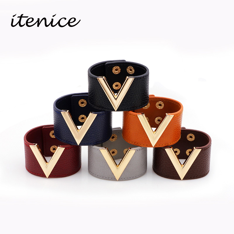 Itenice Europe Big PU Leather Bracelet Simple All-Match MS OL V Word Wide Leather Bracelet 2017 New Hand Jewelry Women Men Gift ...