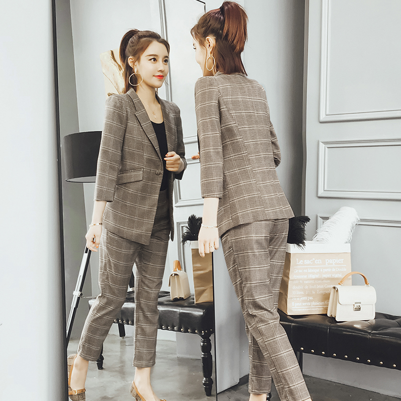 Spring new small suit pants casual fashion lattice suit two sets