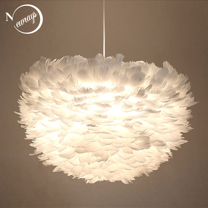 Modern Nordic style white nature Goose feather Pendant Lights romantic E27 led pendant lamps for restaurant bedroom living roomModern Nordic style white nature Goose feather Pendant Lights romantic E27 led pendant lamps for restaurant bedroom living room