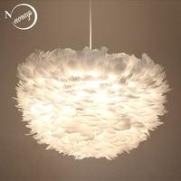 Modern Nordic style white nature Goose feather Pendant Lights romantic E27 led pendant lamps for restaurant bedroom living room