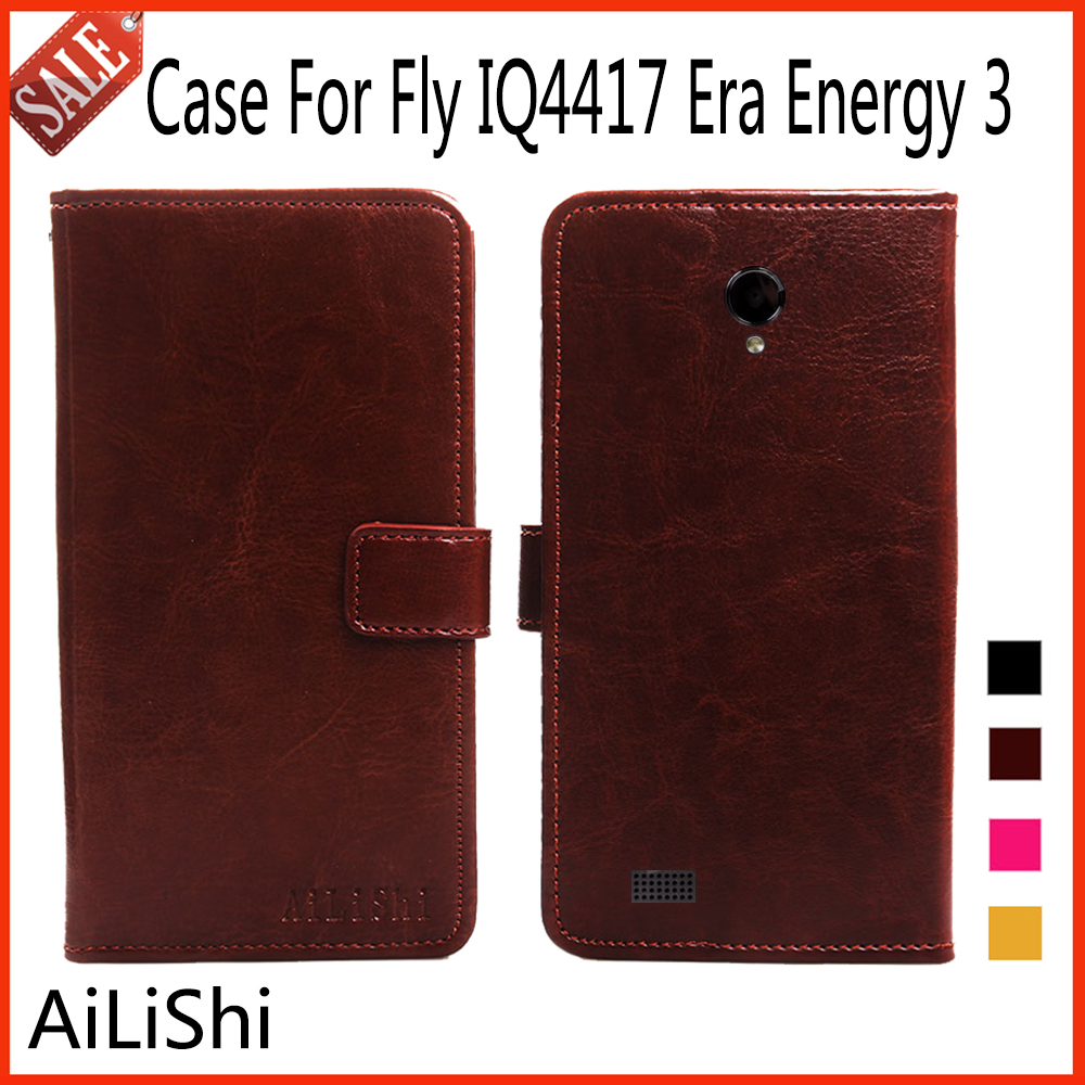 AiLiShi Flip Leather Case For Fly IQ4417 Era Energy 3 Case Hot Protective Cover Phone Bag Wallet 4 Colors In Stock !