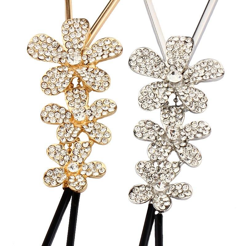 VIVILADY Cute Three Rhinestone Flowers Long Chain Necklaces Female Handmade Maxi Lovely Bohemian Fashion Jewelry Bijoux New Gift