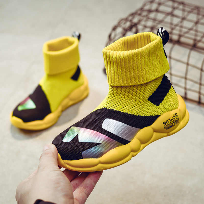Children's Knitted Casual Shoes Autumn Shoes 2019 New Single Shorts Boots Socks Comfortable Flying Shoes Children's Knit Boots