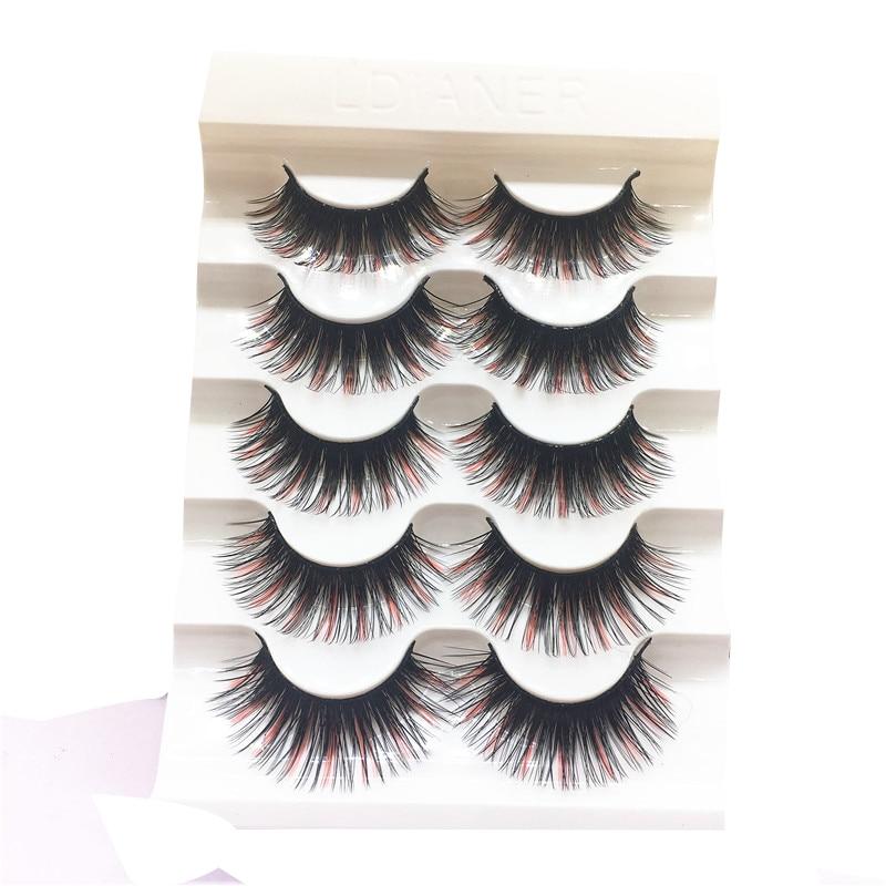 5 pairs Mink False Eyelashes Crisscross Messy Thick Exaggerated Long Fake Eyelashes Stage Romance Makeup Mink Eye Lashes