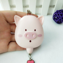 Pink color pig personal alarm keychain security device for kids and women
