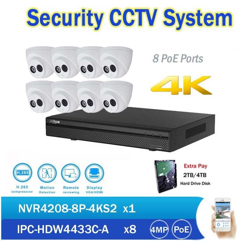 CCTV NVR Kits 8CH PoE 4K Network Video Recorder NVR4208-8P-4KS2 with 8pcs IPC-HDW4433C-A 4MP IP Dome Camera built in mic dahua original 8ch 4mp h2 64 dh ipc hdbw1420e 8pcs network camera poe dahua dhi nvr4208 4ks2 dome ip cctv security camera kit