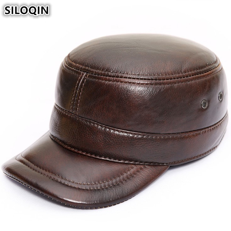 SILOQIN Adjustable Size Men 39 s Flat Caps With Ears Women 39 s Military Hats Brand Genuine Leather Hat Autumn Winter Cowhide Warm Cap in Men 39 s Military Hats from Apparel Accessories