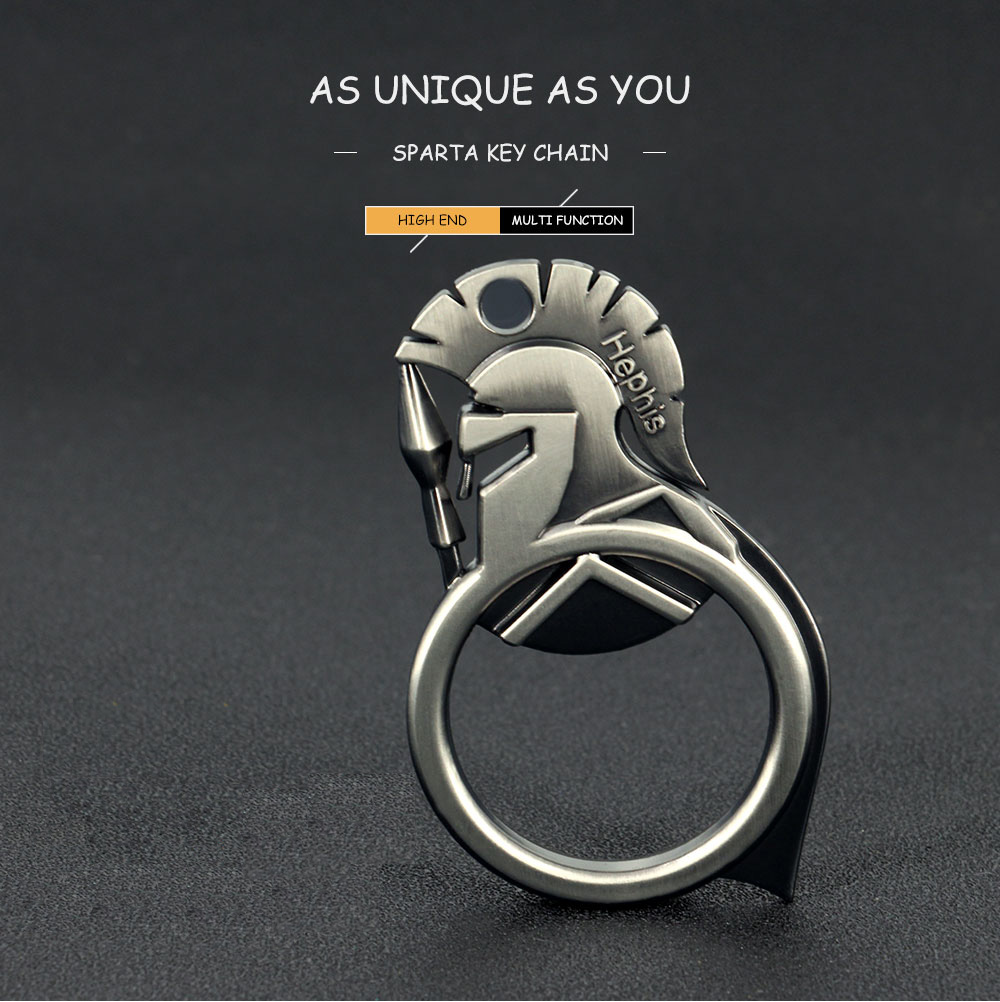 Hephis New Arrival Gun Ring Key Chain Sparta Men Car Keychain Unique Punk Protable Lucky Charms Bottle Opener Key Rings Gift K11 Jewelry & Accessories
