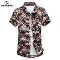 SHAN BAO Marca Camisa de La Flor de Hawaii Estilo 2017 Verano de alta calidad de algodón informal de manga corta camiseta hombres de gran tamaño M-5XL