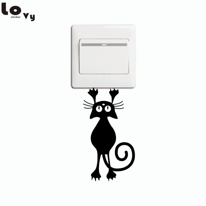 Hanging Lamp Wall Sticker: Cat/Kitten Hanging From Light Switch Sticker Cartoon