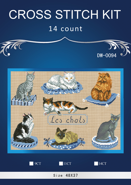 Cats Fishing in river Patterns Counted Cross Stitch 14CT Cross Stitch Sets Chinese Cross-stitch Kits Embroidery Needlework