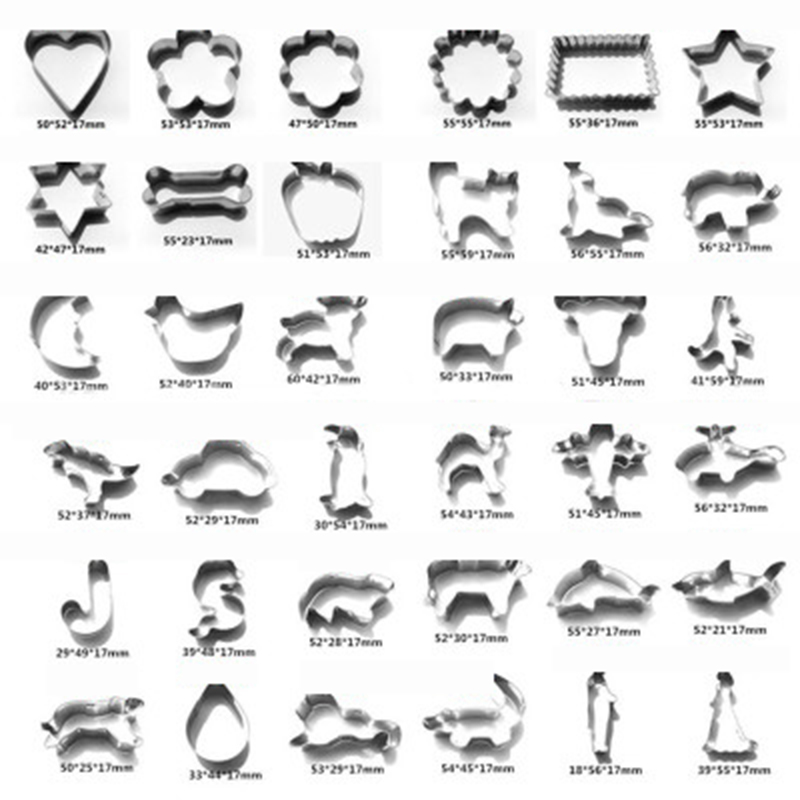 Natal dos desenhos animados de animais cortador de biscoitos em aço inoxidável 0.3 milímetros de Espessura de corte de frutas die selo molde do queque ferramentas de cozimento da cozinha