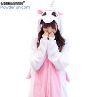LAISIDANTON Anime Sets Cartoon Unicornio Sleepwear Women Pyjama Licorne Flannel Animal Onesie Unicorn Pajama Winter Warm