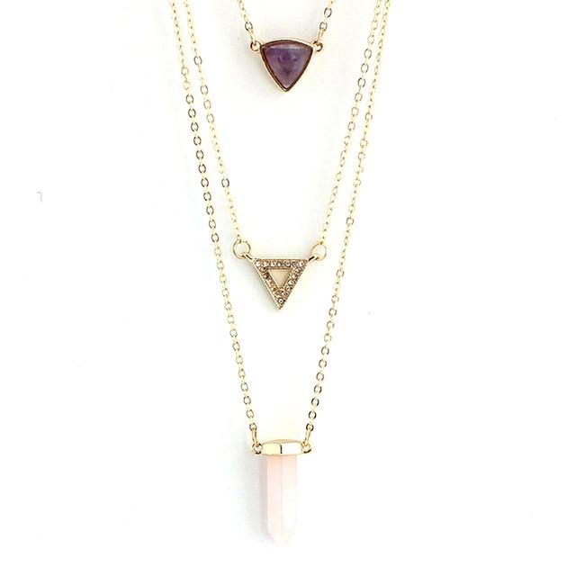 Chicvie треугольные многослойные ожерелья и подвески из натурального