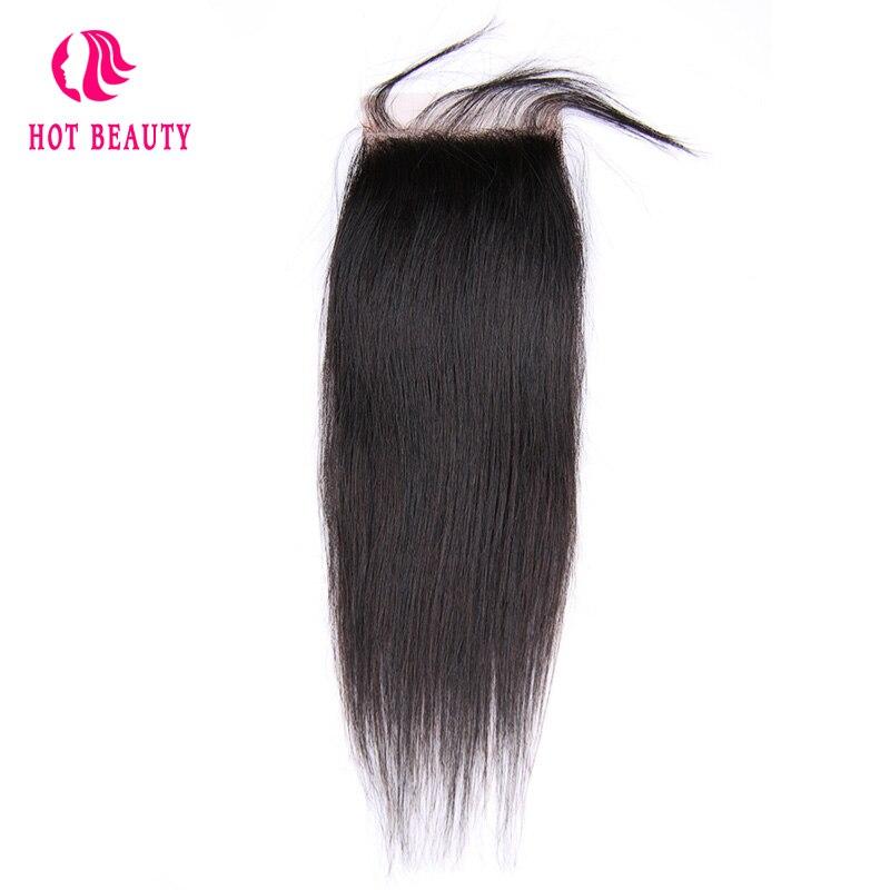 गर्म सौंदर्य बाल पूर्व बंद सीधे बंद ब्राजील रेमी बाल 4X4 नि: शुल्क भाग फीता बंद बेबी बाल 100% मानव बाल क्लोजर