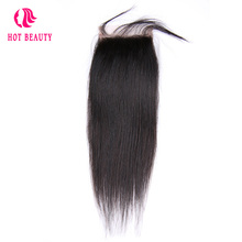 Hot Beauty Hair Pre Plucked Straight Closure Brazilian Remy Hair 4X4 Free Part Lace Closure Baby