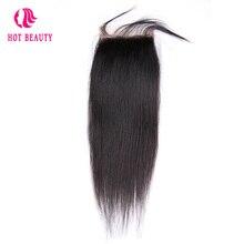 Hot Beauty Hair Straight Peruvian Remy Hair 4*4 Lace Closure Natural Black Color Human Hair Closure 1PC